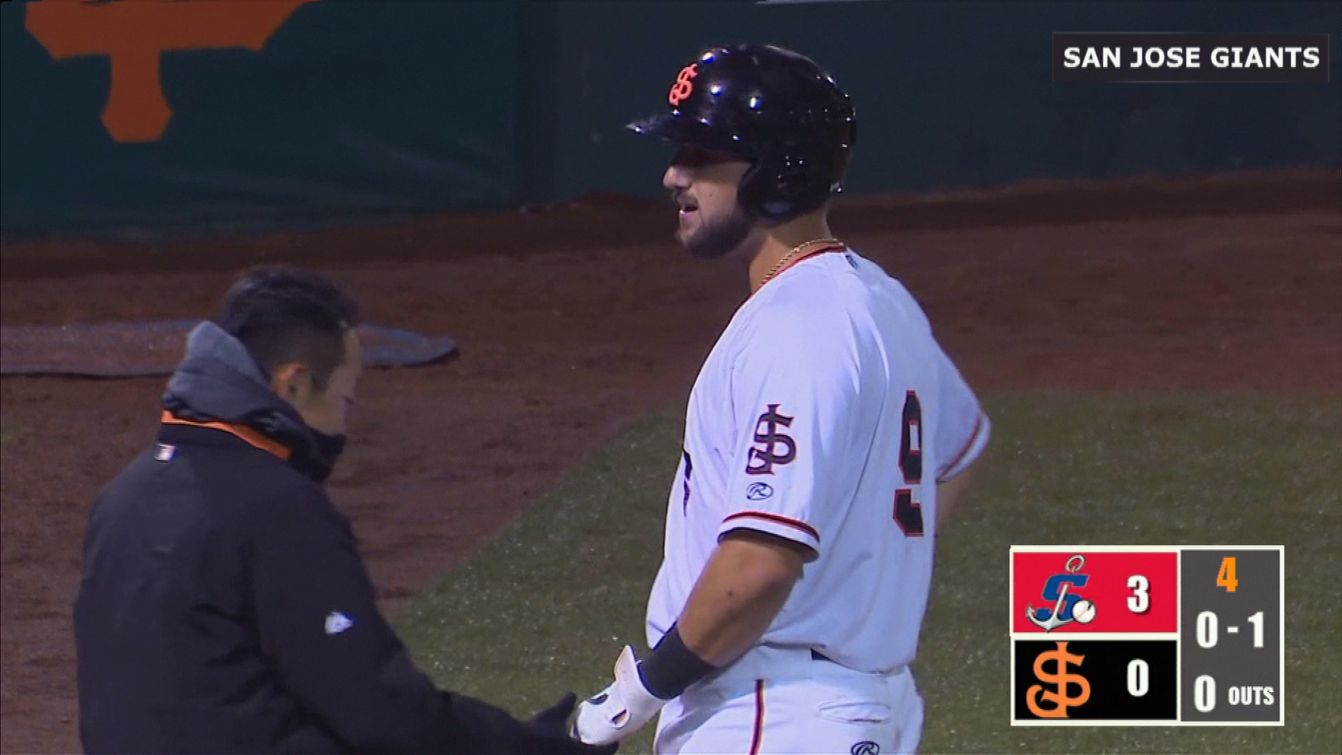 Watch the pitch that broke Joey Bart's hand in San Jose