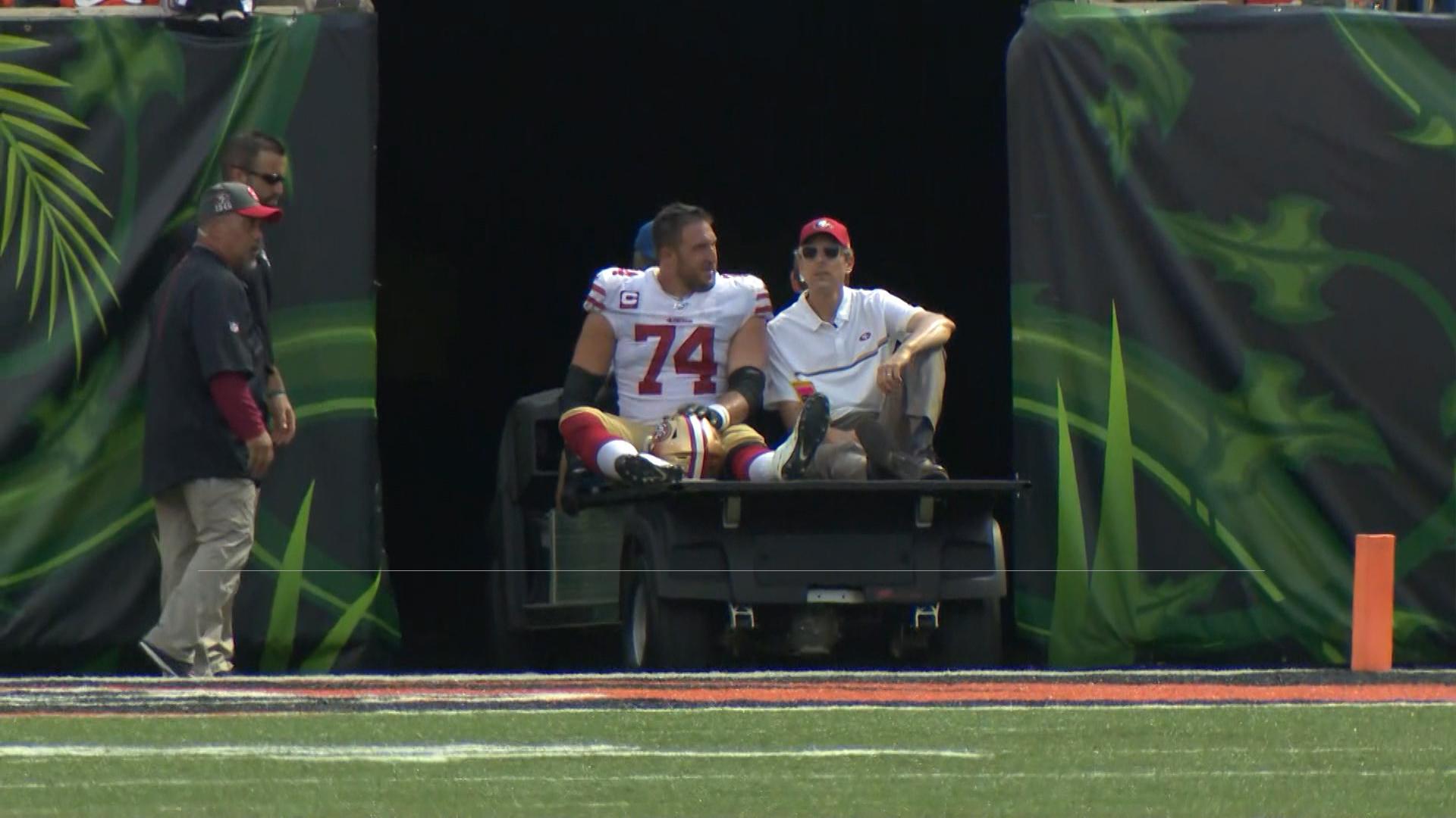49ers react to Joe Staley's 'unfortunate' fibula injury vs. Bengals