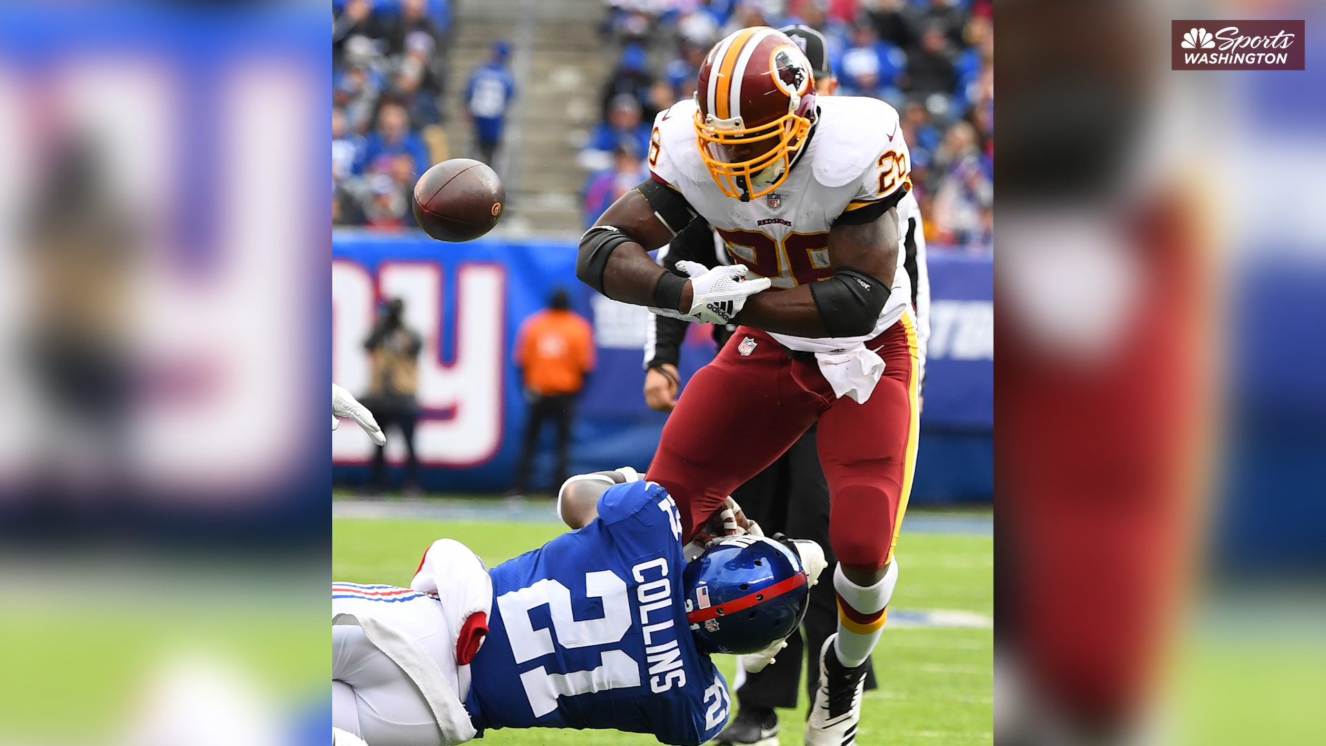 Landon Collins recounts the first time he tried to tackle Adrian Peterson