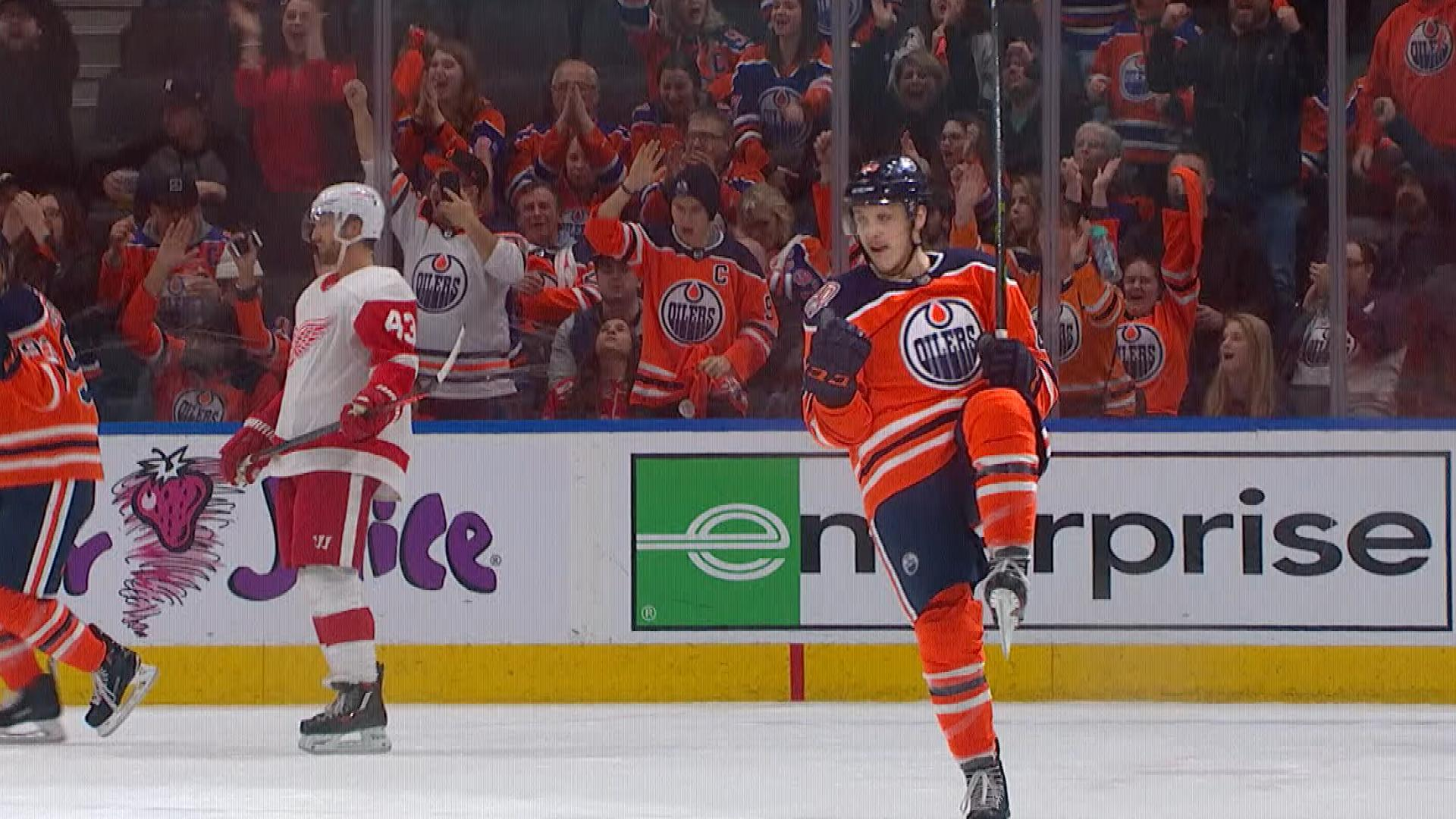 Matt Benning gets Oilers within one vs. Red Wings
