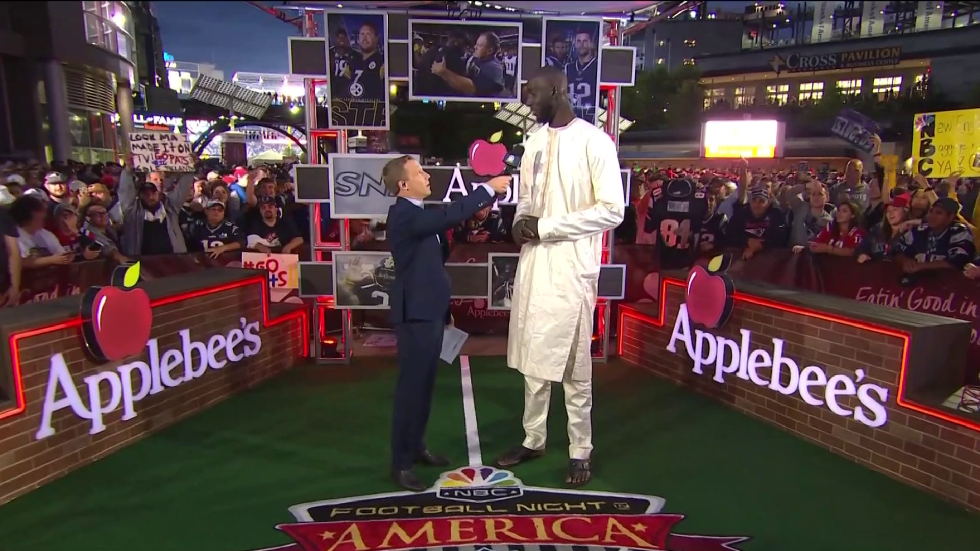 Celtics' Tacko Fall stops by Steelers-Patriots to see first NFL game