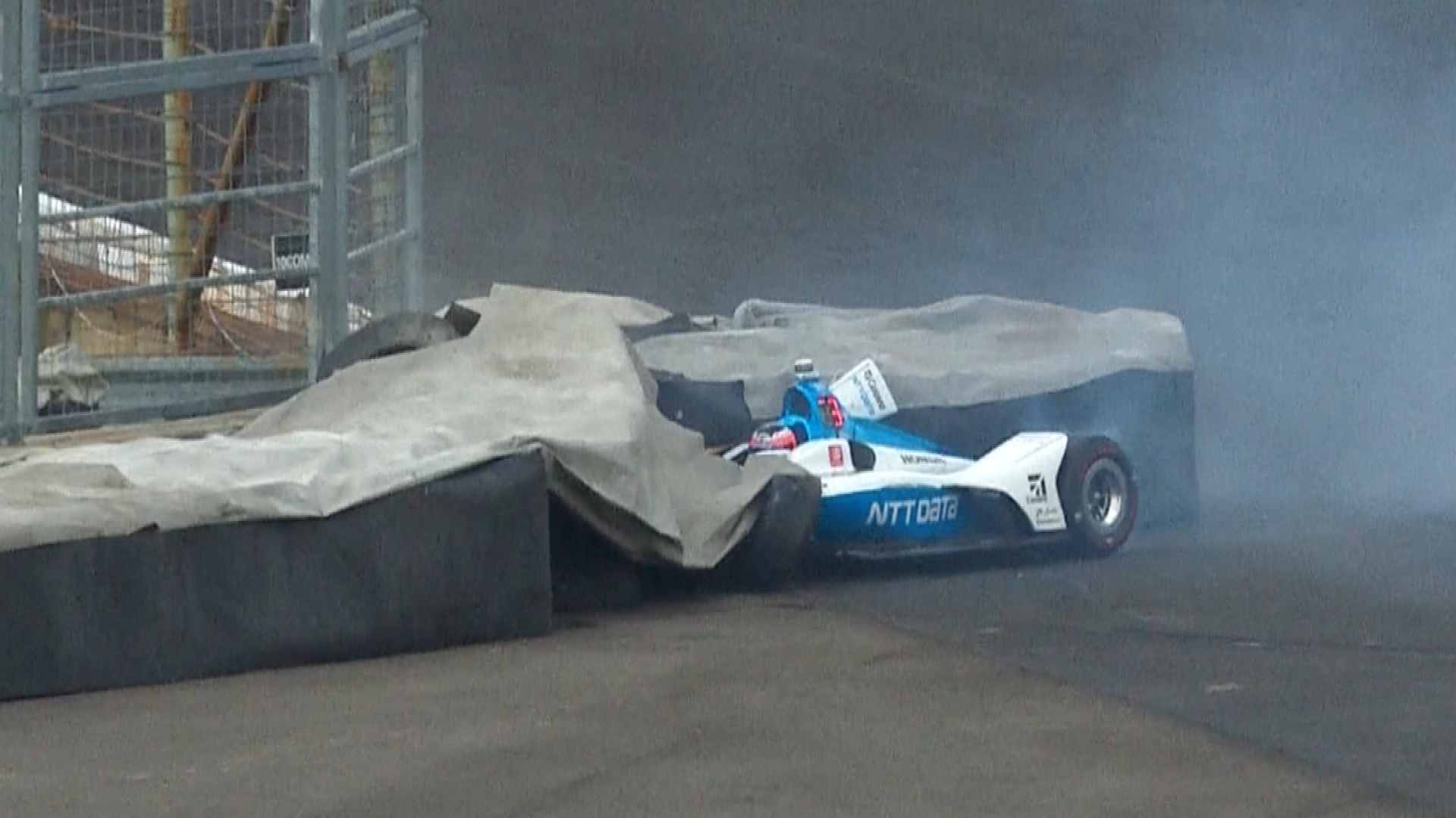Felix Rosenqvist endures hard hit during Indianapolis 500 practice