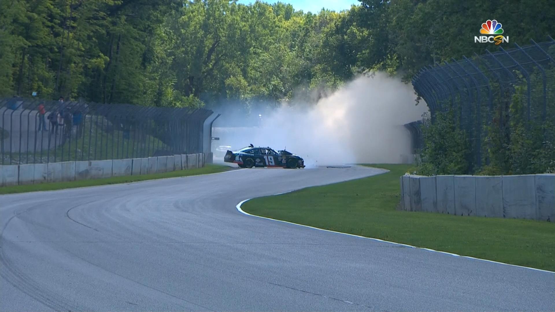 Brandon Jones destroys car during Xfinity Series practice at Road