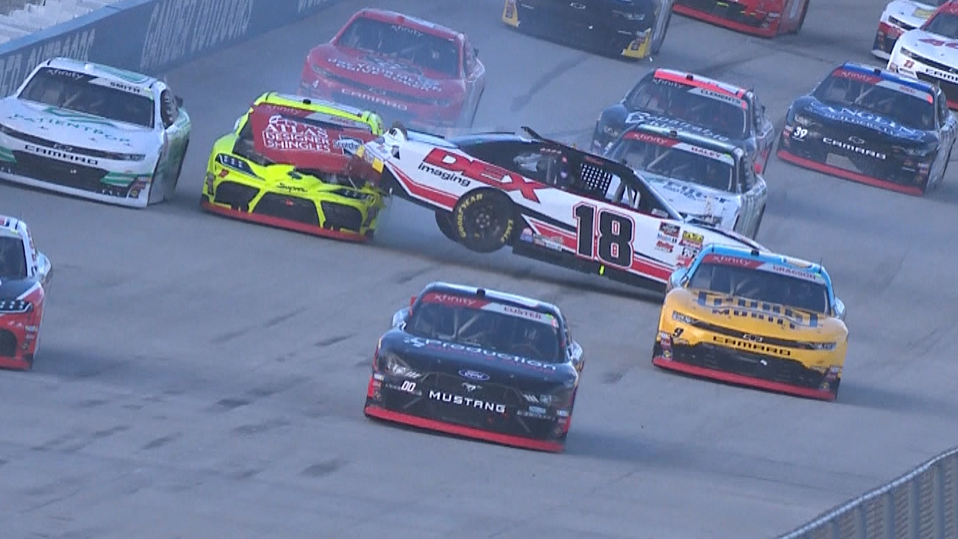 Brandon Jones, Harrison Burton wreck at Dover during Lap 1 of Xfinity