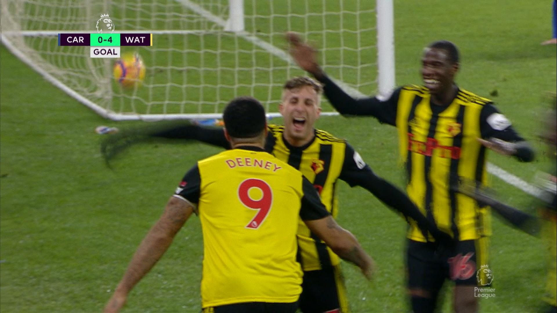 Watford FC's Troy Deeney makes it 4-0 v. Cardiff City | NBC Sports