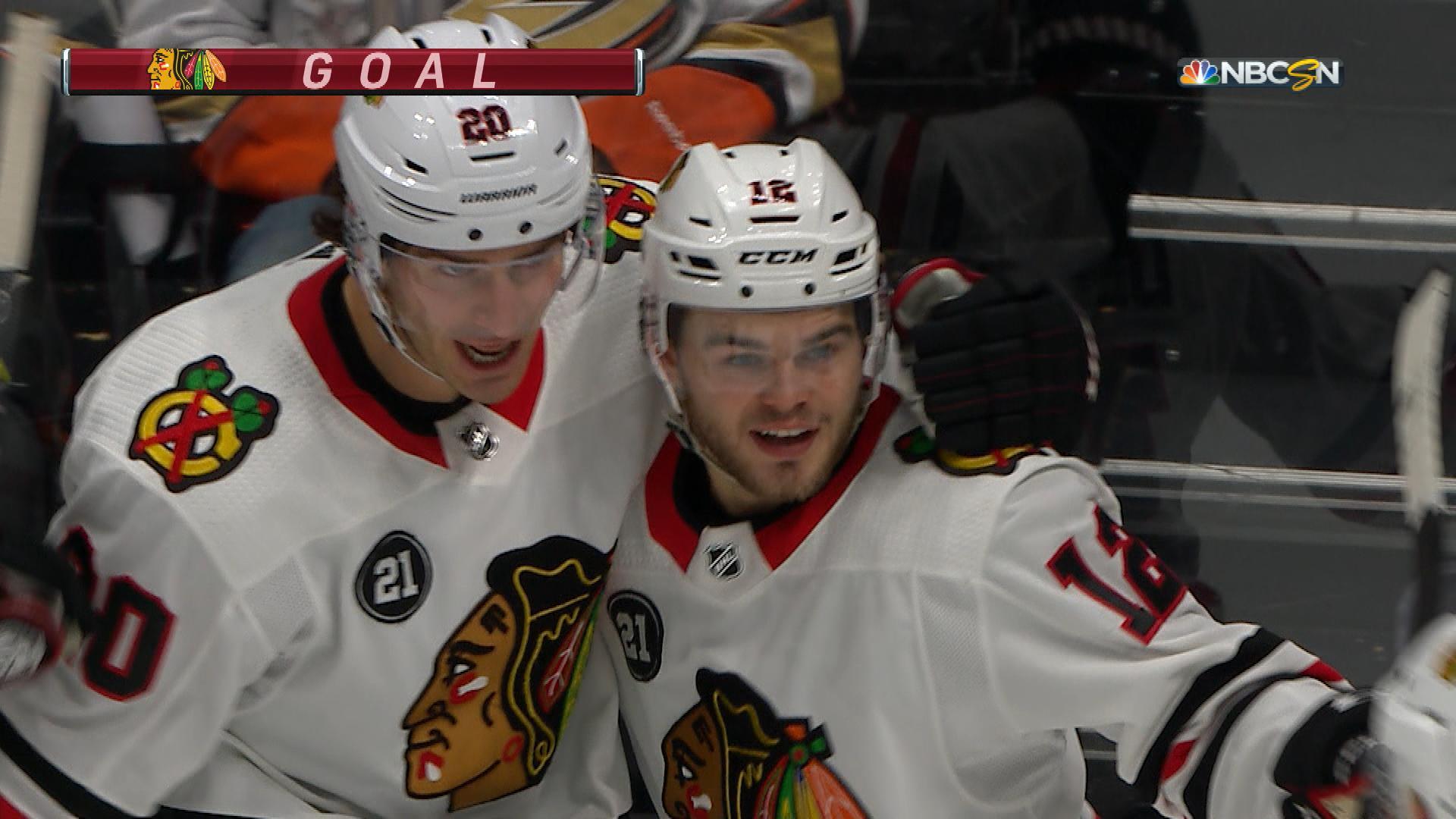 Alex DeBrincat pulls Chicago Blackhawks level with Anaheim Ducks