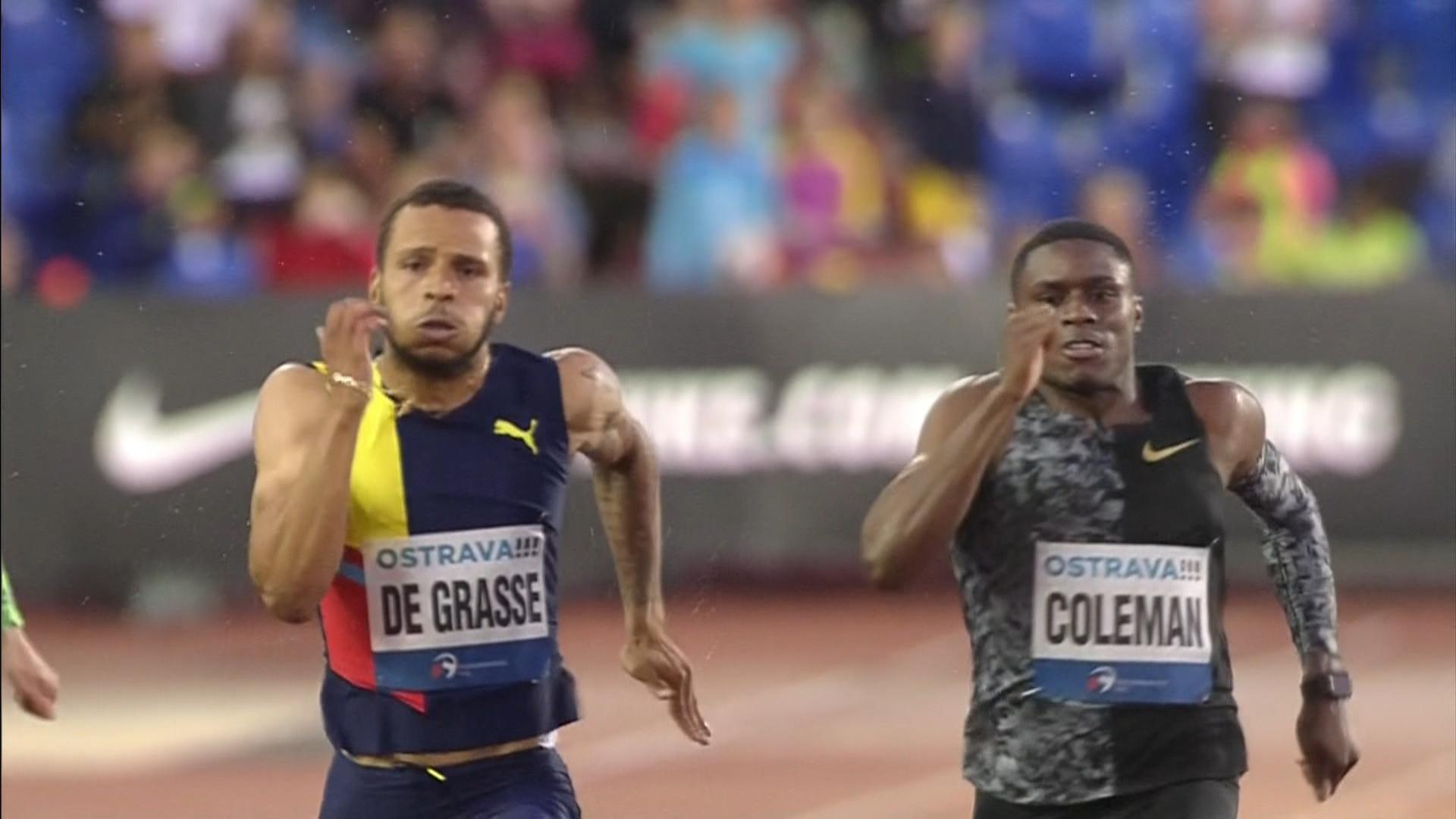 Andre De Grasse chases down Christian Coleman, wins 200m in Ostrava