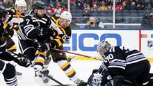8de25865c44 Bruins' Patrice Bergeron ties the Blackhawks with power-play goal ...