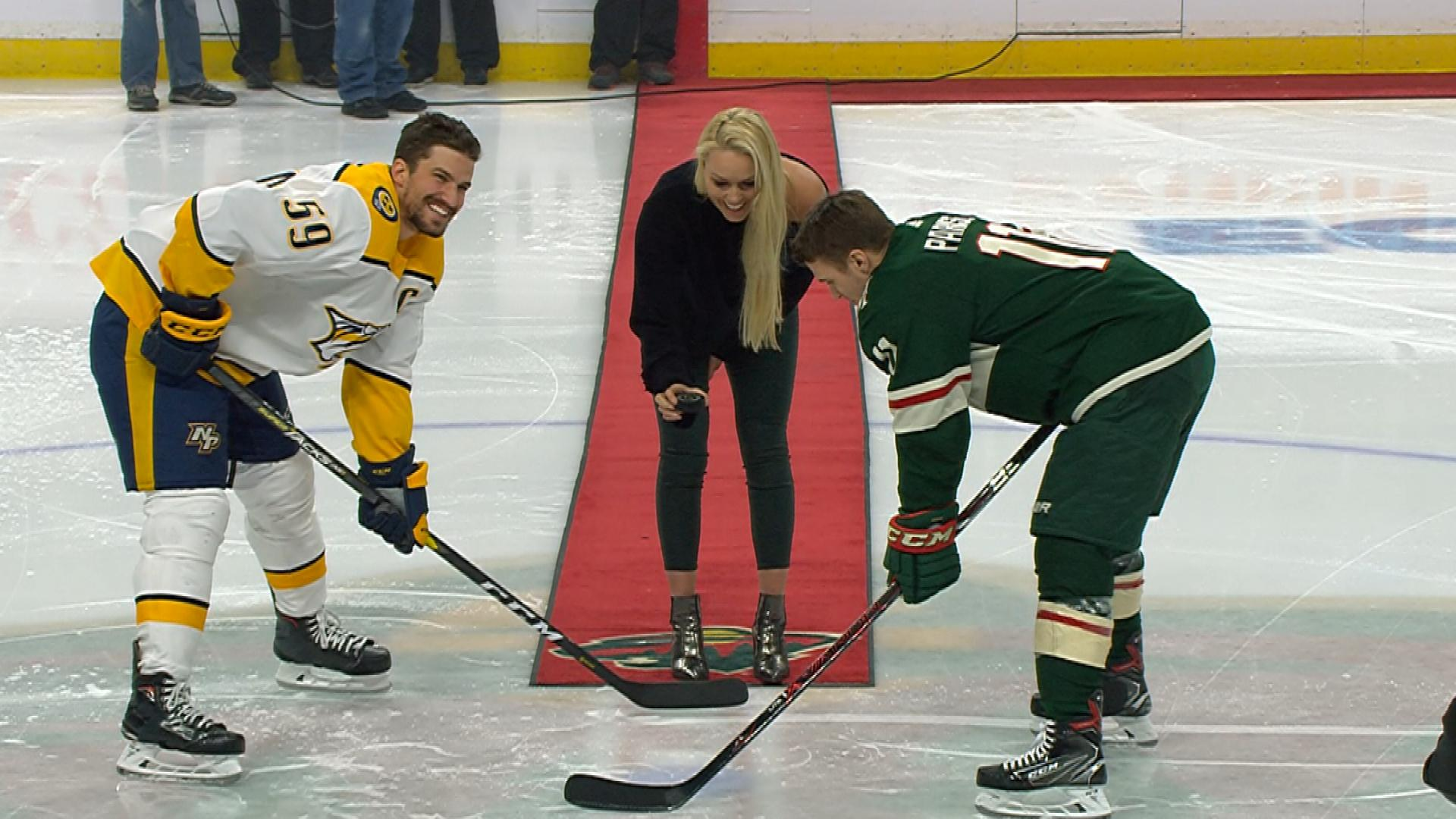 Lindsey Vonn does ceremonial puck drop before Predators vs. Wild