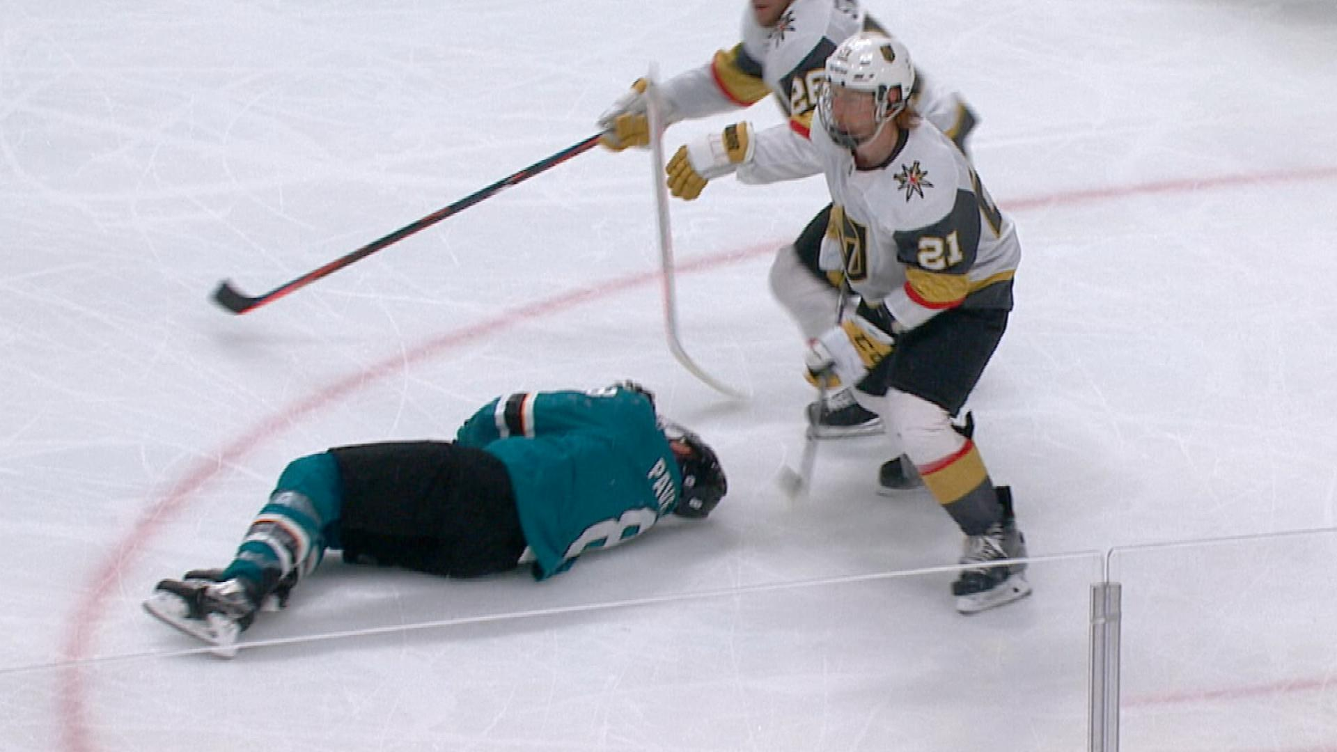 Golden Knights' Cody Eakin ejected for high stick on Sharks' Joe Pavelski