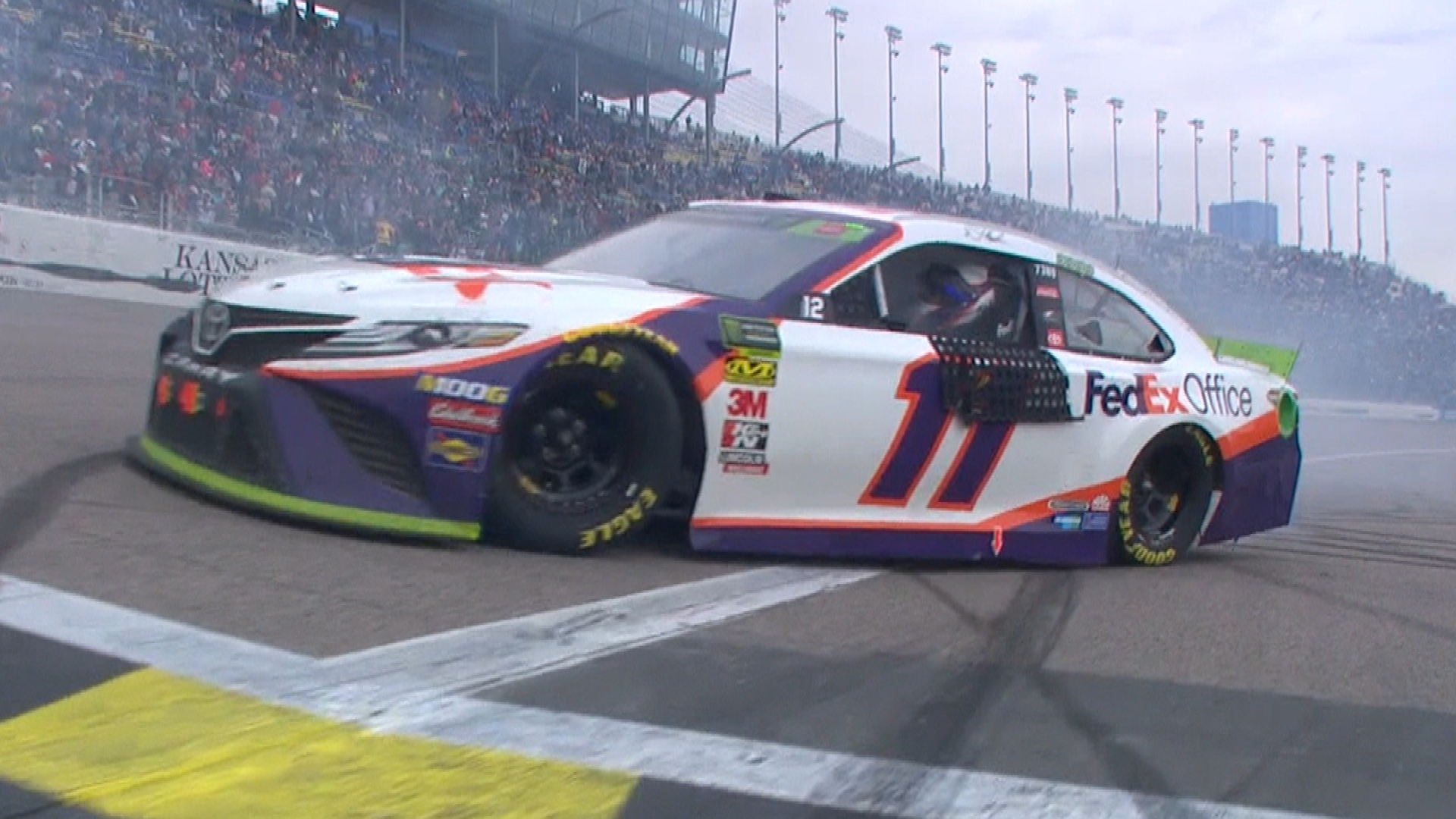 Denny Hamlin wins NASCAR Cup Series playoff race at Kansas Speedway